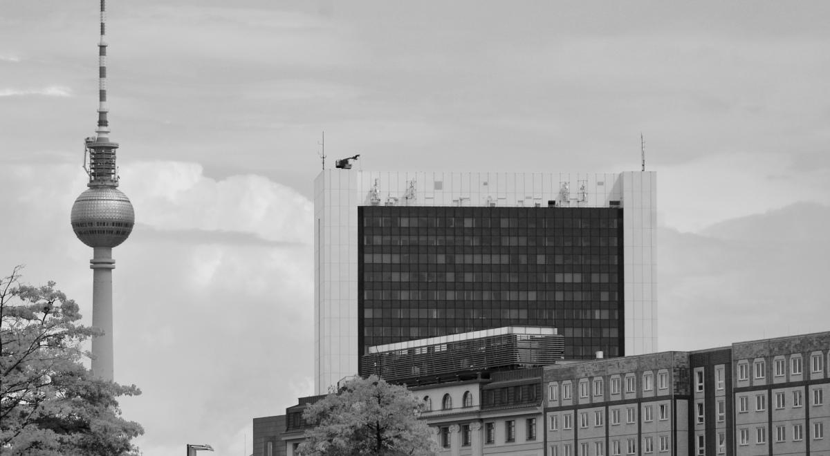 Berlin Fernsehturm in Black and White. Berlin Mitte